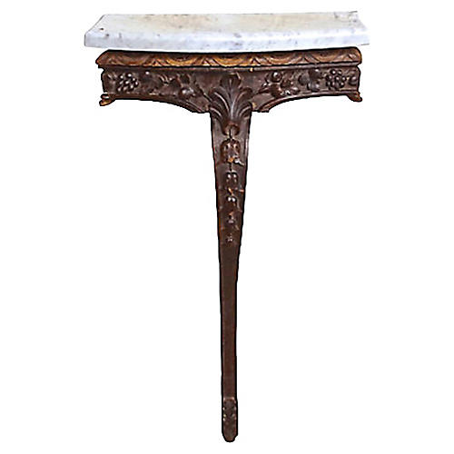 Antique Wood & Marble Console