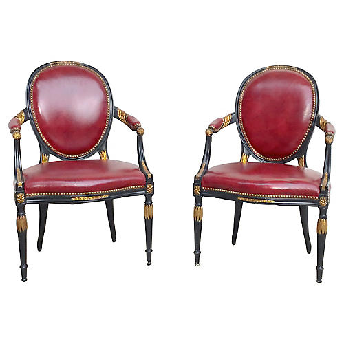 Edwardian Leather Armchairs, Pair