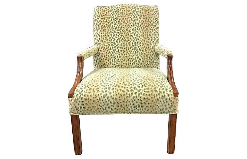 Leopard Velvet Georgian Style Armchair
