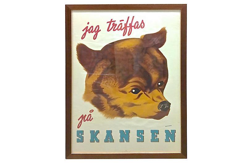 Framed Swedish Zoo Poster