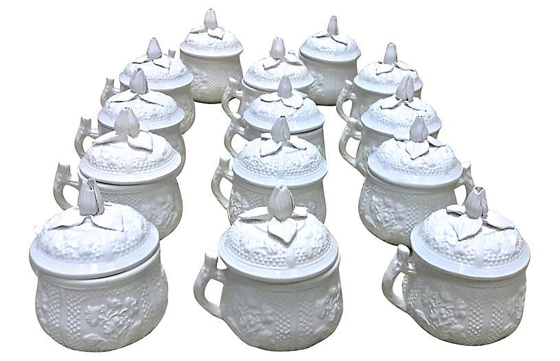 Porcelain Mottahedeh Pots De Creme, S/14