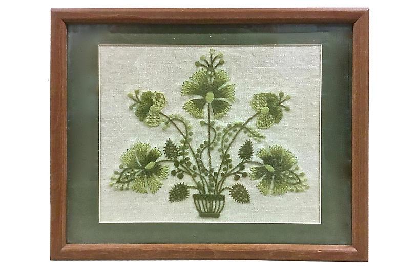 Framed Green Floral Needlework