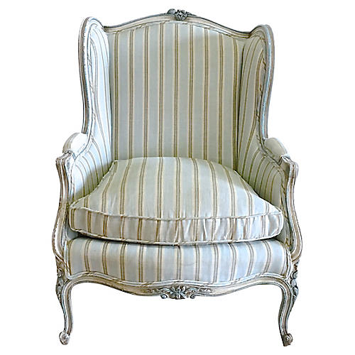 Antique French Carved Striped Wing Chair