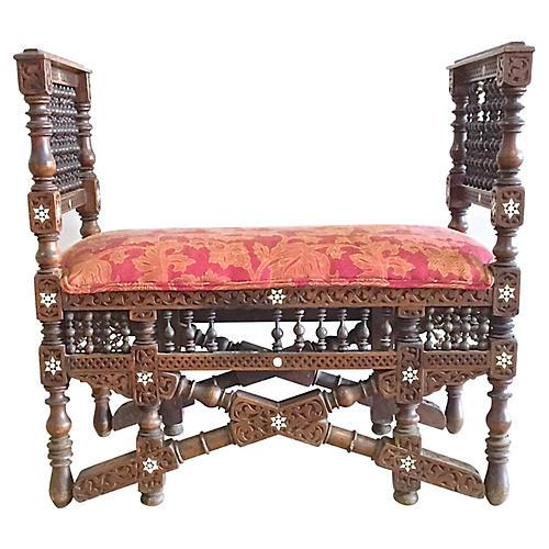 Antique Carved Moorish Bench