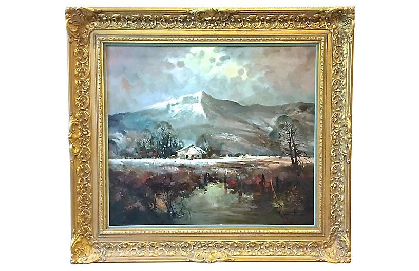 R.Faker Alpine Landscape Oil Painting