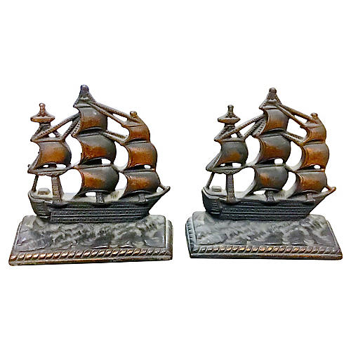 Bronze Copper Finish Ship Bookends