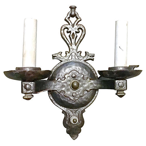 Wrought Iron Double Arm Wall Sconce