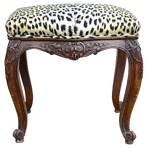 Antique French Carved Leopard Bench