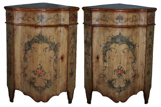 Venetian Corner Cabinets, C. 1850, Pair