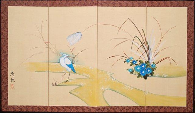 Japanese Byobu Screen w/ Crane