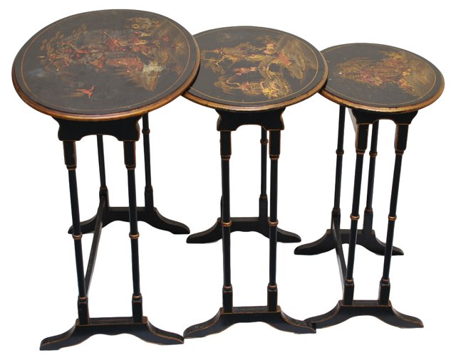 Chinoserie Nesting Tables, S/3