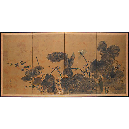 Circa 1920s Japanese Lotus Screen