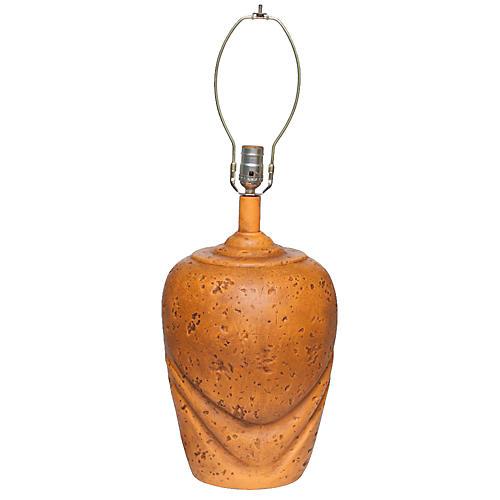 1960s Tangerine Ceramic Lamp