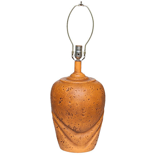 1960s Tangerine Ceramic Table Lamp