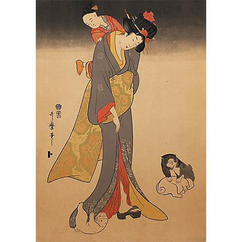 19th-C. Kitagawa Utamaro Woodblock Print