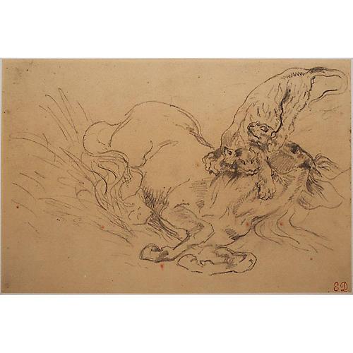 Delacroix Tiger Mauling a Wild Horse