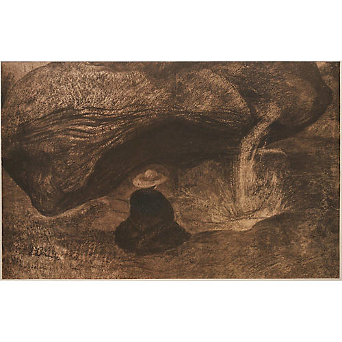 G. Courbet, Source of Loue Lithograph