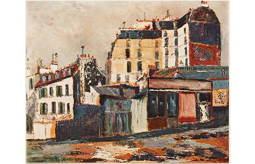 M.Utrillo Rue Ravignan Lithograph, 1954