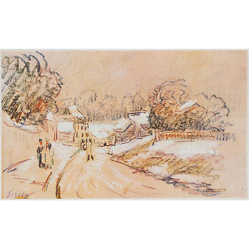 Lithograph of Early Snow by Sisley, 1959