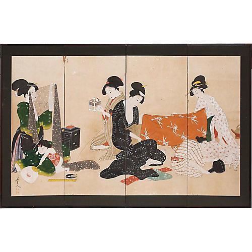 Meiji Era Ukiyo-e Byobu Screen