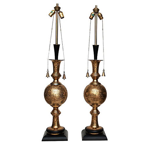 1950s Indo-Persian Table Lamps, Pair
