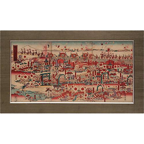 Meiji Original Woodblock Prints Triptych