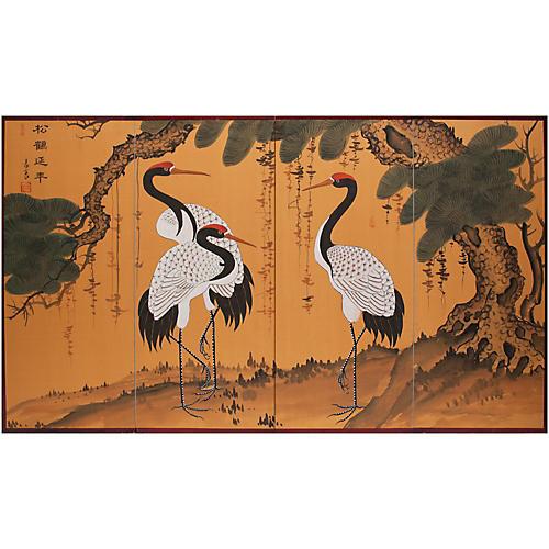 C. 1960s Asian Three Cranes Screen
