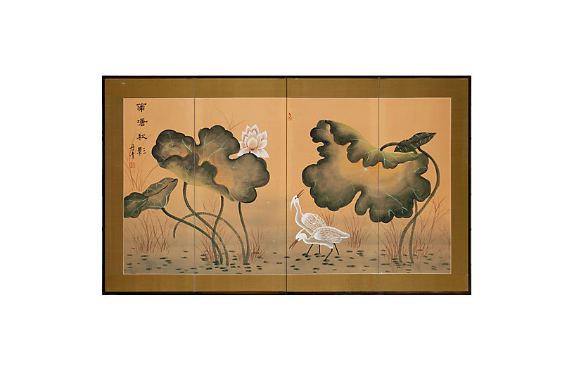 1960s Silk Screen With Egrets and Lotus