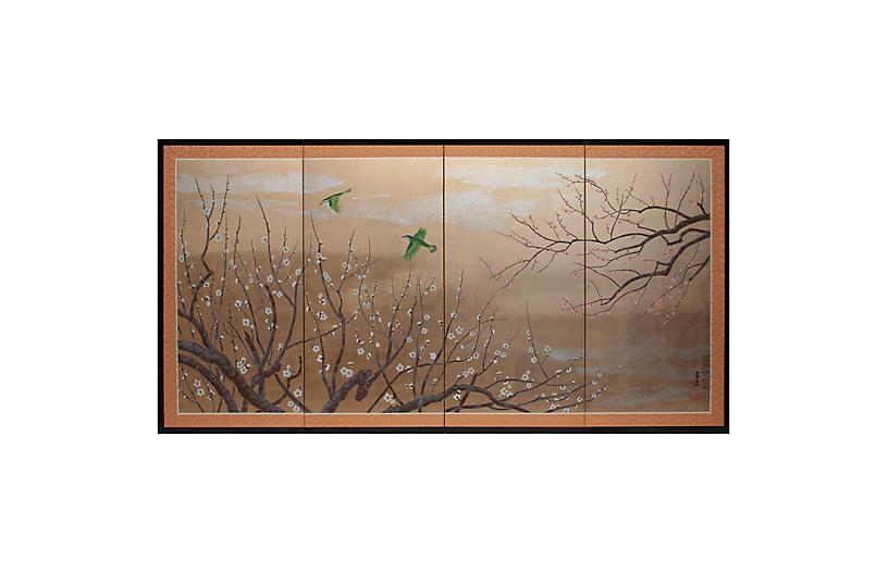 Shōwa Gold Leaf & Silk With Green Birds