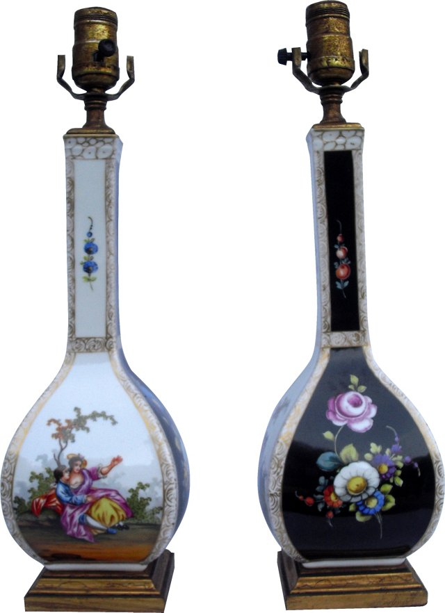 German Porcelain Lamps, Pair