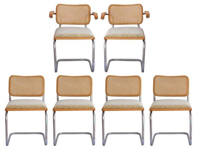 Marcel Breuer Cesca Chairs, Set of 6