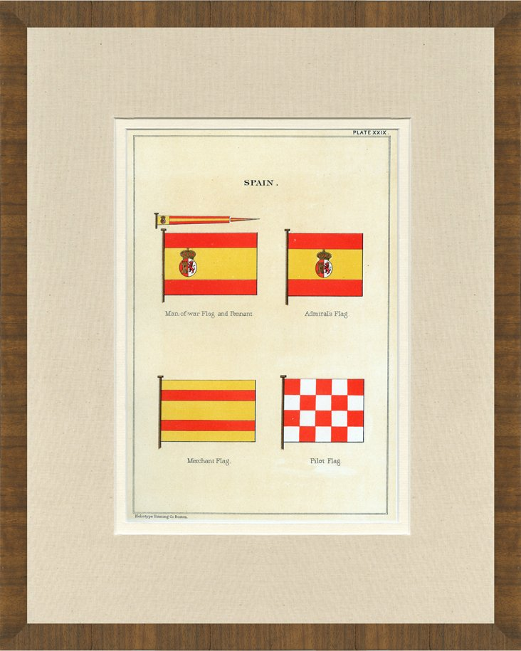 Spanish Naval Flags Print, 1882