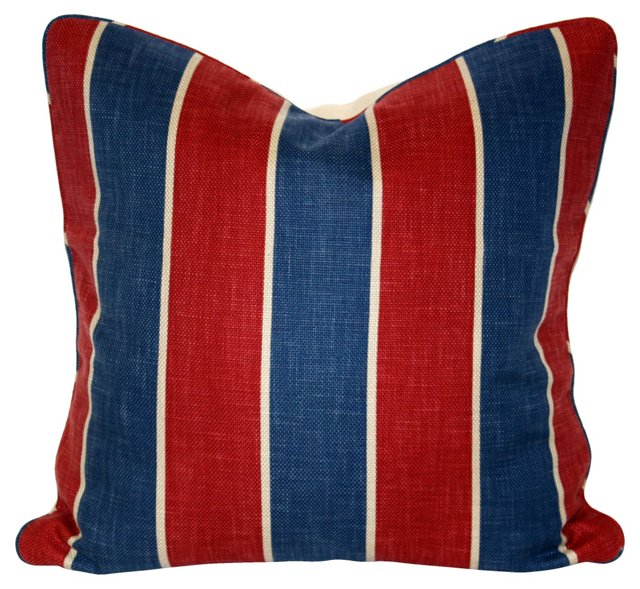 Red & Blue Striped Pillow