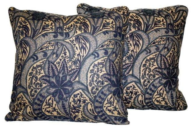 Blue Paisley Floral Pillows, Pair