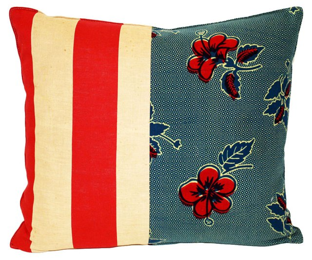 Floral  & Striped    Patchwork Pillow