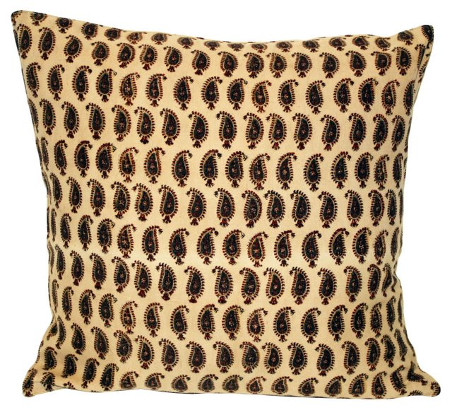 Paisley Block-Print Pillow