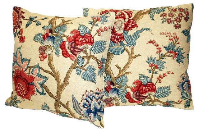 Jacobean Floral Pillow,     Pair