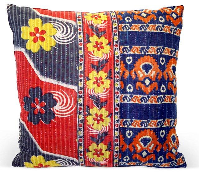 Floral   Kantha Blanket Pillow