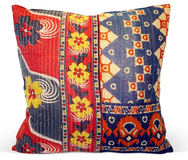 Floral   Kantha Pillow