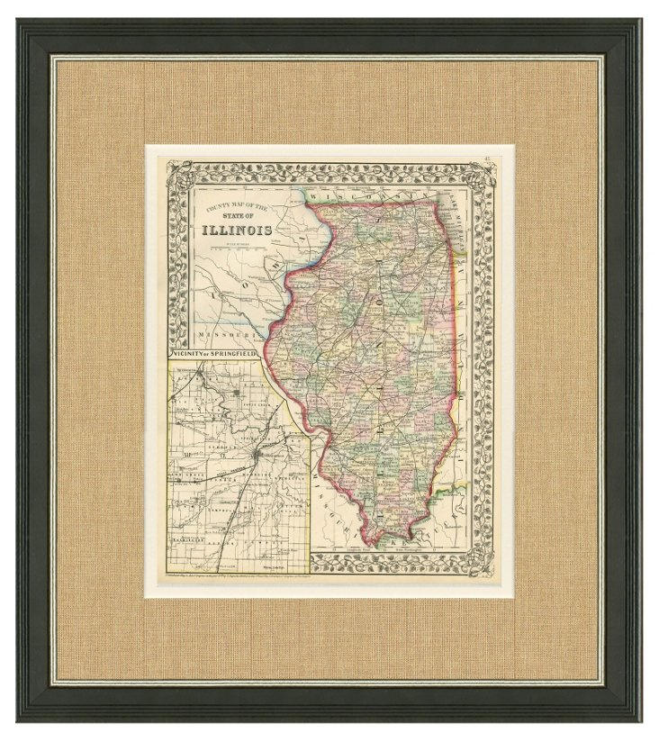 Map of Illinois, C. 1870