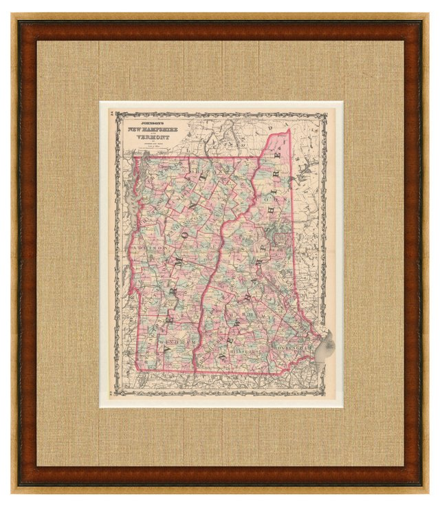 New Hampshire & Vermont Map, 1864