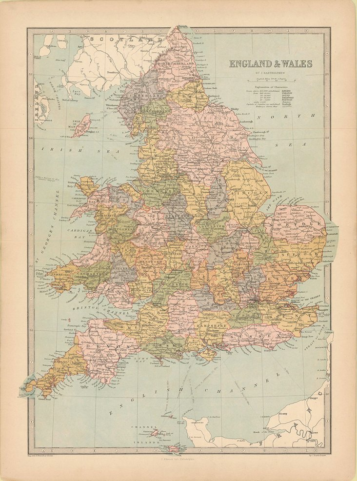 Map of England & Wales, 1873