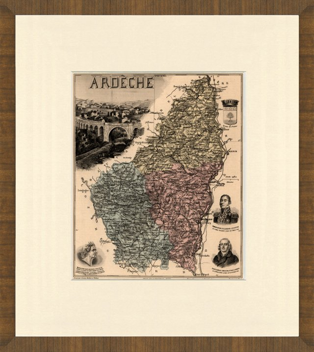 Map of Ardèche, France, 1893