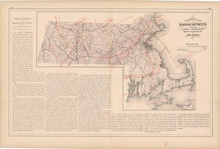Massachusetts Climatological Map, 1871