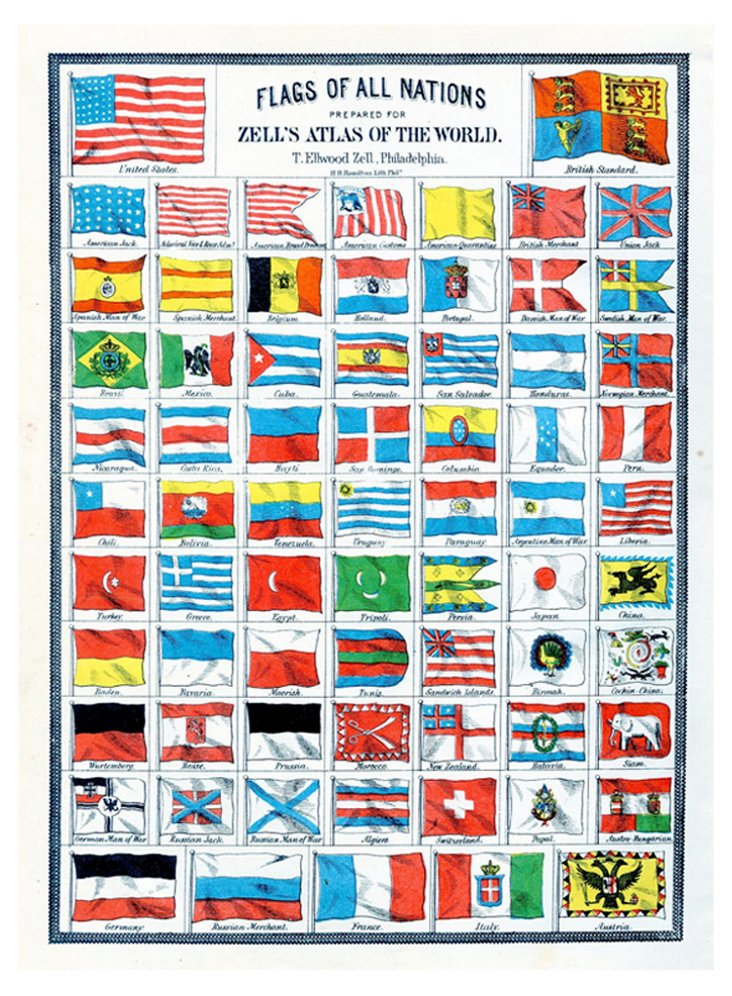 National Flags Print, C. 1875