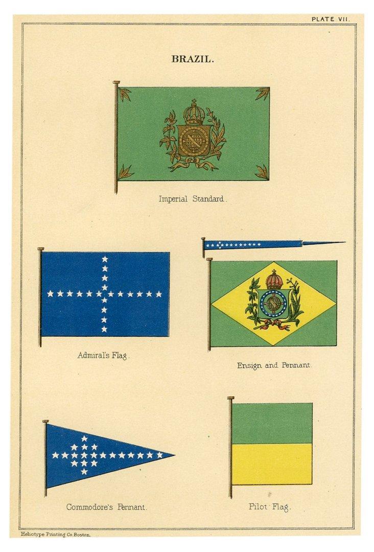 Marine Flag Print, Brazil, 1882