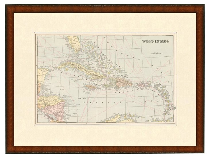 Map of the West Indies, 1899