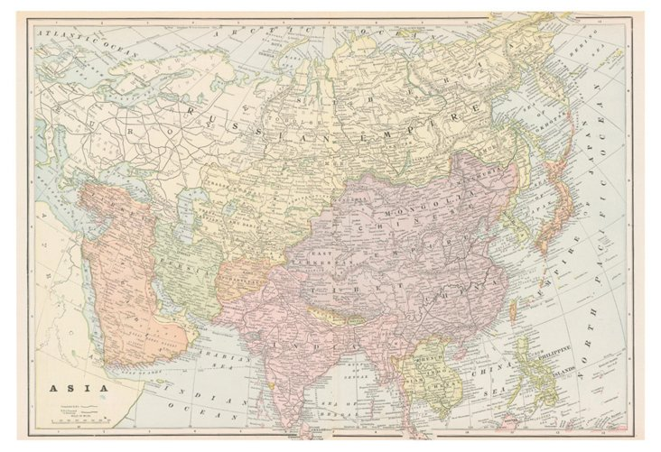 Map of Asia, 1901