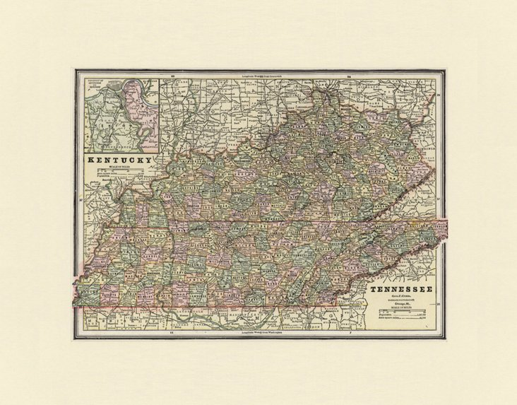Map of Kentucky & Tennessee, C. 1880