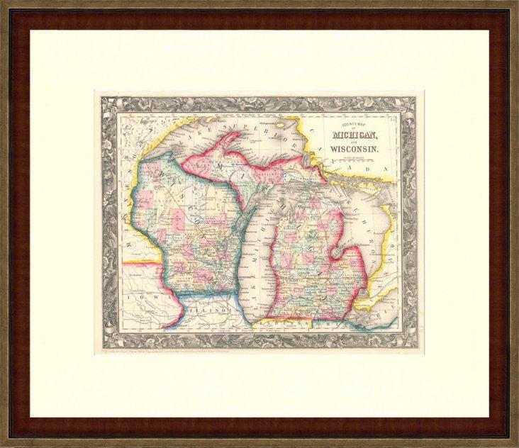 Map of  Michigan & Wisconsin, 1860